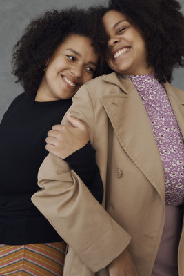 "Sisters, Coleen and Bene for Zalando's 'Hug Portraits' series, part of the brand's ""We Will Hug Again"" Holiday Campaign, captured by photographer Sarah Blais in Berlin."