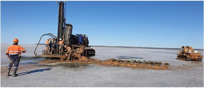 Figure 3: First Karora lake air core rig deployed on Lake Cowan (CNW Group/Karora Resources Inc.)