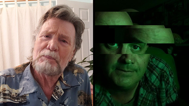 Gil Oldman Jr. (Vernon Wells) and Stork Winters (Jed Rowen) in Social Distance
