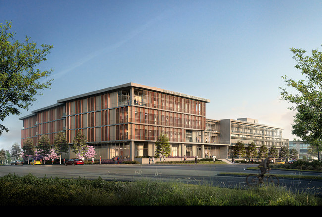 Two new College of Health Sciences Complex buildings at the University of California, Irvine, now under construction, will be a showcase for integrative health patient care, training, and research. (Contractor: Hathaway Dinwiddie; designers: HED, SLAM.)