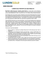 Lundin Gold Reports Q3 2020 Results (CNW Group/Lundin Gold Inc.)