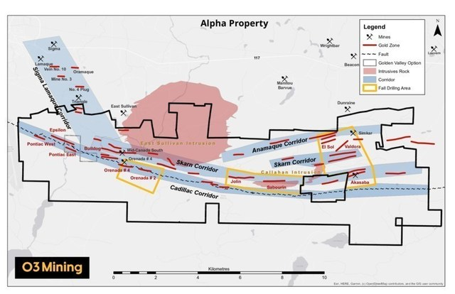 Figure 2: Alpha property and drill program (CNW Group/O3 Mining Inc.)