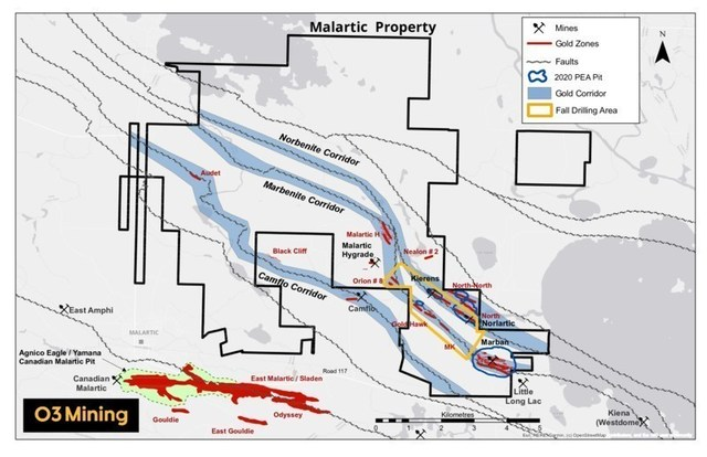 Figure 3: Malartic property and drill program (CNW Group/O3 Mining Inc.)