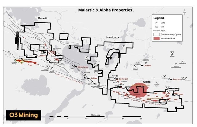 Figure 1: Alpha and Malartic properties location (CNW Group/O3 Mining Inc.)