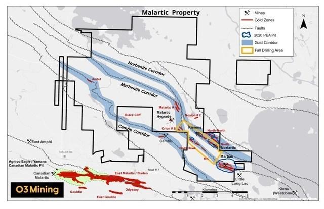 Figure 3: Propriété Malartic et programme de forage (Groupe CNW/O3 Mining Inc.)