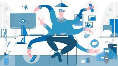 Work From Home Employee Juggling Tasks Illustration