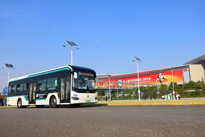 Sunwin 9-series bus is the designated shuttle for the security zone of the third CIIE