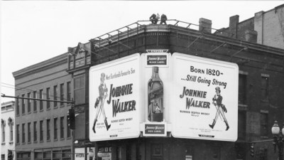 Johnnie Walker advertising from the 1950s in Rochester, New York state.