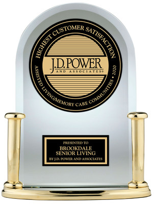 Brookdale Senior Living has received a J.D. Power Award for ranking highest in the J.D. Power 2020 U.S. Senior Living Satisfaction Study. (PRNewsfoto/Brookdale Senior Living)