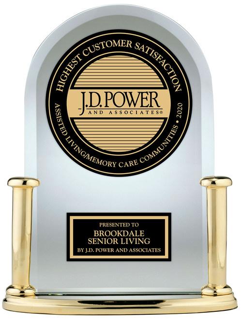 Brookdale Senior Living has received a J.D. Power Award for ranking highest in the J.D. Power 2020 U.S. Senior Living Satisfaction Study. (PRNewsfoto/Brookdale Senior Living)
