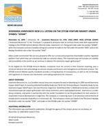 "JOSEMARIA ANNOUNCES NEW U.S. LISTING ON THE OTCQB VENTURE MARKET UNDER SYMBOL ""JOSMF"" (CNW Group/Josemaria Resources Inc.)"