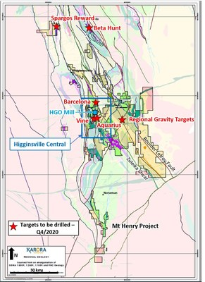 Figure 1: Plan view showing Karora tenement outline and active drill locations (CNW Group/Karora Resources Inc.)