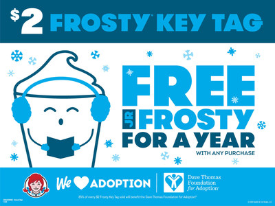 Wendy's Invites Fans to Support the Dave Thomas Foundation for Adoption with In-App Drink Offer and Frosty Key Tag Promotion for National Adoption Month this November.