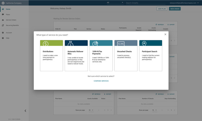 The Amplify dashboard provides an overview of your most relevant information & actionable items.