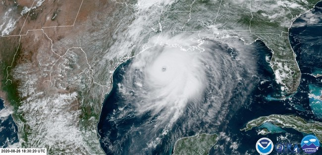 Category 4 Hurricane Laura barrels toward Louisiana, August 26, 2020. Image courtesy of NOAA.