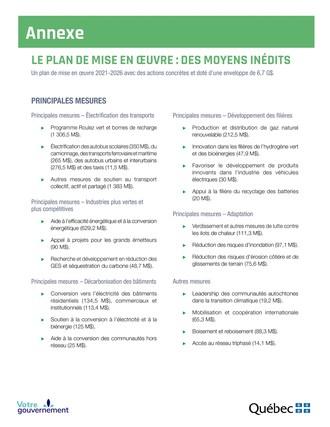 Annexe - Plan de mise en œuvre (Groupe CNW/Cabinet du premier ministre)