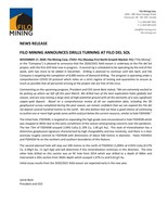 Filo Mining Announces Drills Turning at Filo Del Sol (CNW Group/Filo Mining Corp.)