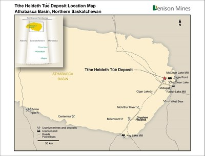 Figure 3 Tthe Heldeth Túé Deposit (Waterbury Lake) Regional Location Map (CNW Group/Denison Mines Corp.)