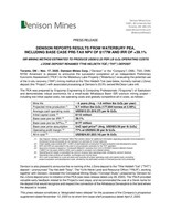 Denison Reports Results From Waterbury PEA, Including Base Case Pre-Tax NPV of $177M and IRR of +39.1% (CNW Group/Denison Mines Corp.)