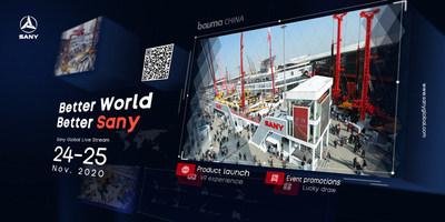 Primeira transmissão ao vivo global da Sany para a bauma 2020 (PRNewsfoto/SANY Group)