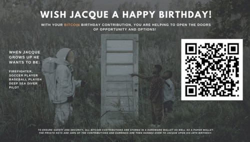On each of the boy's birthday, this special QR code appears over the entire artwork which users can scan to donate to a bitcoin wallet.