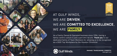 Gulf Winds named a 2020 Top Workplace by the Houston Chronicle