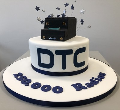 DTC Celebratory Cake topped with an exact likeness of a SOL8SDR Radio