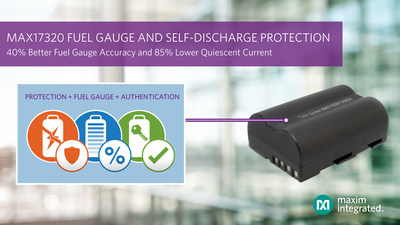 Maxim Integrated's MAX17320 2 to 4 series cell Li-ion fuel gauge IC is industry's first to monitor self-discharge during operation while extending battery life with highest accuracy and lowest quiescent current.