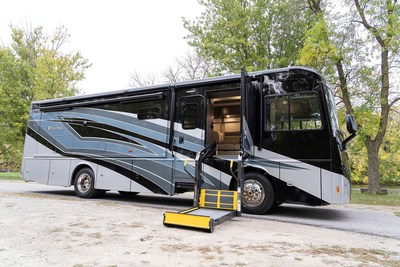 To be exclusively sold by La Mesa RV, the Inspire AE and Adventurer 30T AE 2021 models feature standard wheelchair tie-downs, platform wheelchair lifts, and expanded hallways and bathrooms.