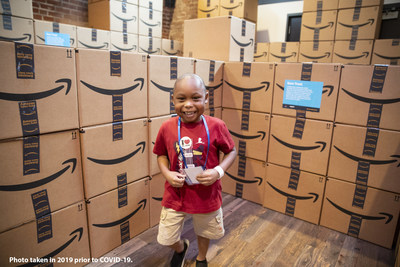 Mason, a St. Jude patient, explores Camp Amazon, an interactive robotics pop-up lab that Amazon brought to the campus of St. Jude Children's Research Hospital on Sept. 23, 2019. St. Jude Children's Research Hospital has topped $10 million in donations from AmazonSmile.