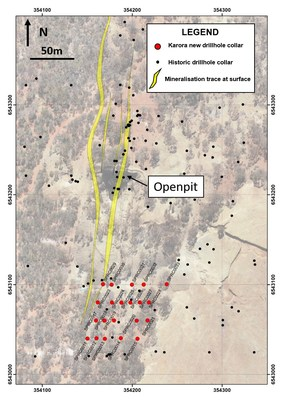 Figure 2: Plan view of drill collars at Spargos (CNW Group/Karora Resources Inc.)