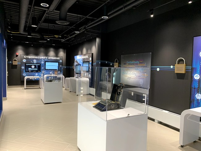 Complete exhibit, identity and brand environment for RIT's Global Cybersecurity Institute fabricated by ID Signsystems