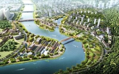 O desenho de renderização do projeto de turismo cultural do Rio Liuyang. (PRNewsfoto/Xinhua Silk Road)