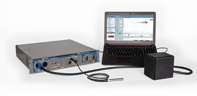 As an integrated system—combining audio analyzer, power amplifier, headphone amplifier and microphone power supplies—the new APx517B Acoustic Analyzer offers drastically reduced setup time and renowned AP reliability & quality to acoustic product manufacturers at a production test price. The APx517B is shown here with a 1/2-inch measurement microphone from GRAS Sound & Vibration and is setup for the test of a passive loudspeaker.