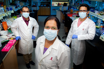 (L-R) Bhesh Sharma, Ph.D., Thirumala-Devi Kanneganti, Ph.D., Rajendra Karki Ph.D., of the Kanneganti Lab at St. Jude Children's Research Hospital