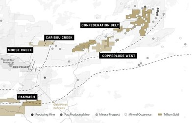 Figure 1 Location of the Confederation Belt & Pakwash properties relative to Great Bear's Dixie Gold Property. (CNW Group/Trillium Gold Mines Inc.)