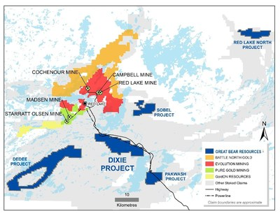 Figure 1: Great Bear's Red Lake properties, showing the location of the new Red Lake North property. (CNW Group/Great Bear Resources Ltd.)