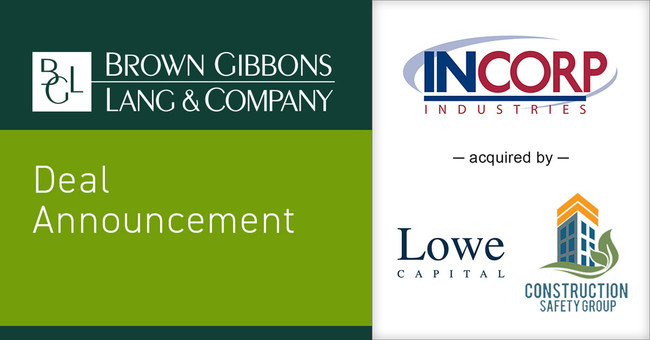 Brown Gibbons Lang & Company (BGL) is pleased to announce the sale of Incorp Holdings, LLC (Incorp) to Lowe Capital Management LLC and Construction Safety Group. BGL's Environmental & Industrial Services team served as the exclusive financial advisor to Incorp in the transaction.