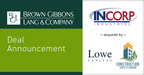 BGL Announces the Sale of Incorp Holdings, LLC