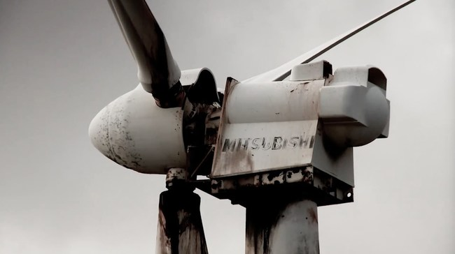 An abandoned wind turbine from the film Planet of the Humans
