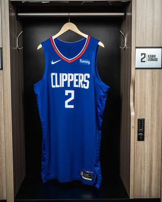 An LA Clippers jersey displaying the new Honey patch is shown hanging in Kawhi Leonard's locker at the Honey Training Center: Home of the LA Clippers as the two Los Angeles-based companies expand their partnership.