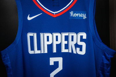 A closeup look at a Kawhi Leonard LA Clippers jersey displaying the new Honey patch as the two L.A.-based companies expand their partnership.