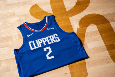 A Kawhi Leonard LA Clippers jersey displaying the new Honey patch is shown on the court at the Honey Training Center: Home of the LA Clippers as the two Los Angeles-based companies expand their partnership.