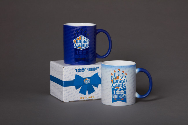 White Castle's 2020 Holiday Gift Guide Shines. White Castle's online store, the House of Crave, offers a cool collection of White Castle-branded products, from totes, ties and t-shirts to golf balls, ball caps and campfire mugs. This year, the site also features White Castle's limited edition 100th birthday mug, created to commemorate the fast-food restaurant's 100th birthday in 2021. The ceramic mug changes colors based on the temperature of the drink inside. Available at www.houseofcrave.com.