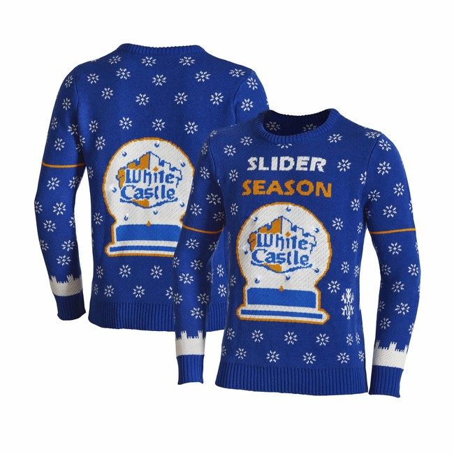 """White Castle's 2020 Holiday Gift Guide Shines. White Castle's online store, the House of Crave, offers a cool collection of White Castle-branded products, from totes, ties and t-shirts to golf balls, ball caps and campfire mugs. The 2020 version of White Castle's holiday sweater features the headline """"Slider Season"""" and the White Castle logo encompassed in a light-up snow globe, making it particularly striking when worn at night. Available at www.houseofcrave.com."""