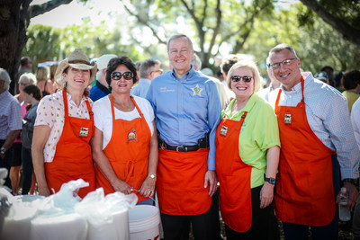 During the 2019 Farm City BBQ, Collier County Commissioner Penny Taylor, Senator Kathleen Passidomo, Sheriff Kevin J. Rambosk, Collier County School Superintendent Kamela Patton, and Deputy County Manager Nick Casalanguida along with the local delecation served lunch to nearly 3,000 attendees.