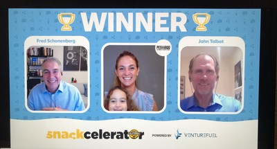 Snackcelerator Winner Jessica Levison with John Talbot, CEO of the California Milk Advisory Board and Fred Schonenberg, CEO and Founder of VentureFuel.