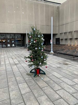 Un sapin de Noël déposé au Conseil du trésor (Groupe CNW/CSQ)