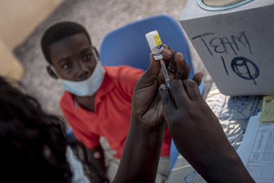 Boy in Ghana receiving a yellow-fever vaccination. Credit: The Tony Blair Institute for Global Change
