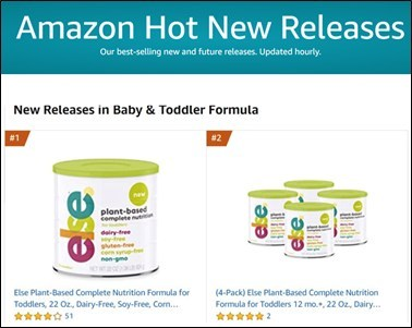 Amazon Hot New Releases (CNW Group/Else Nutrition Holdings Inc.)